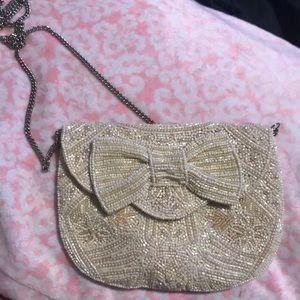 Cream Beaded Bow Bag